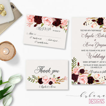 Printable Marsala Wedding Invitation Suite Bohemian Flowers Bridal Wedding Invite Set Pink Burgundy Floral Digital Wedding Invite - WI017