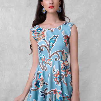 skater dress, lace back dress, open back skater dress, bleu dress, lahore pattern, bohemian dress, v back dress