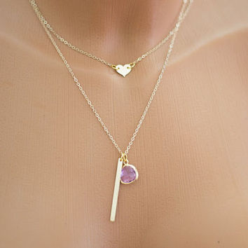 Gold Filled Layering Necklace, Initial Skinny Bar. Personalized Gold Filled Heart. Lilac Glass Pendant Vertical Bar Pendant  Bar Tag 2 Layer