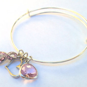 Breast Cancer Awareness Adjustable Bangle Bracelet, Ocotber, Gift, Pink, Silver Adjustable Bangle Bracelet