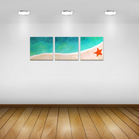 Home and Office Art, TROPICAL SHORELINE No.5, Set of 3 12x12 Acryic Canvas, Beach Themed Decor