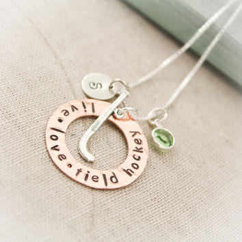 Cyber Monday Sale Field Hockey Charm Necklace Copper Washer and Sterling Silver Personalized Hand Stamped Necklace