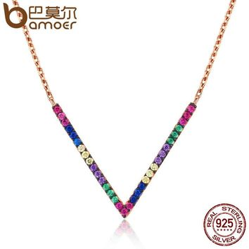 Popular 925 Sterling Silver & Rose Gold Exquisite Geometric Letter Pendant Necklaces for Women Fine Jewelry SCN124