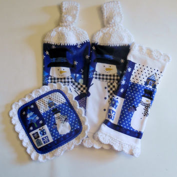 Snowman Kitchen Hanging Towel Pot Holder Dish Cloth, Blue and White Kitchen Decor, Crochet Towels