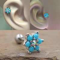 Turquoise Flower Cartilage Tragus Earring