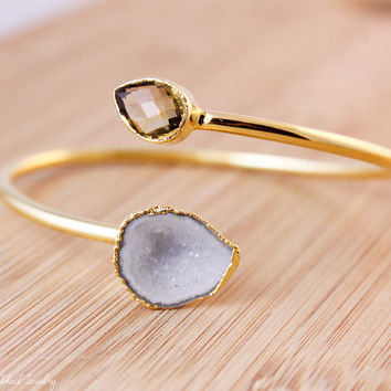 SALE Gold Champagne Citrine and White Geode Bangle - Dual Stone Bangle - Adjustable Bangle