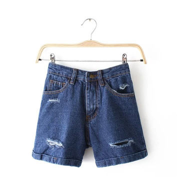 Women's Fashion Summer High Rise Pants Ripped Holes Denim Shorts [6034226561]