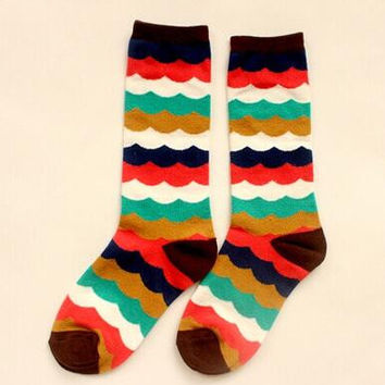 Rainbow Print Socks for Women Autumn Winter Gift-09