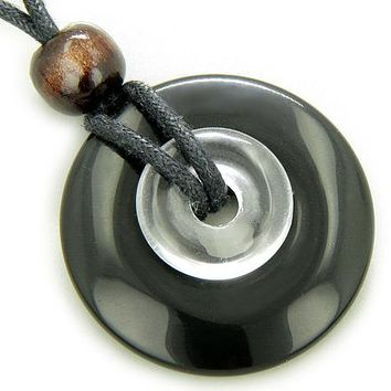 Double Lucky Amulet Ying Yang Black Onyx Crystal Quartz Necklace