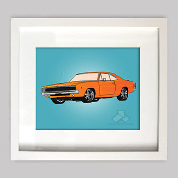 Orange Dodge Charger 8x10 Illustration for Boys Room Decor, Nursery Wall Art, Boys Room Art, or Toddler Boys Room(Digtial Download)