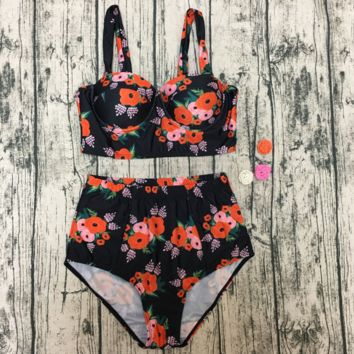 Summer new fashion floral leaf print straps two piece bikini swimsuit