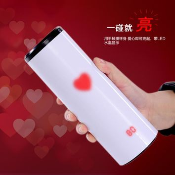 Hot Sparkling water bottle temperature Change Color Tea Cup Touch Sensing With LED Display Vacuum Love Warming Up Mug