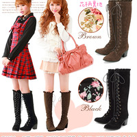 Rakuten: Lining floral design ♪ frill lace up boots- Shopping Japanese products from Japan