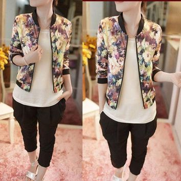 Women Stand Collar Long Sleeve Zipper Floral Printed Bomber Jacket = 1929868612