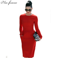 Nice-forever Formal High Waistline Pencil dress Women Elegant Solid Vintage Patch Pocket Sheath long Sleeve Midi Work Dress 456