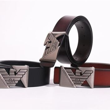 """Armani"" Unisex Fashion Classic Multicolor  Metal Plate Buckle Belt"