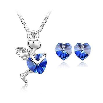Cute Little Angel Crystal Heart Police Awareness Necklace and Earrings Set