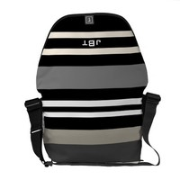 Black and White Stripes Monogram Bag Courier Bags