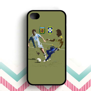 Messi and Neymar Art  iPhone 4 and 4s case