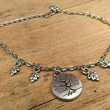 Tree of Life Anklet, Body Jewelry, Foot Jewelry, Silver Tree Ankle, Leaf Charm Ankle, Boho Chic Anklet, Bohemian Anklet, Family Tree Jewelry