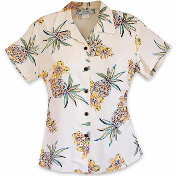 Pineapple Cream Lady's Hawaiian Rayon Blouse
