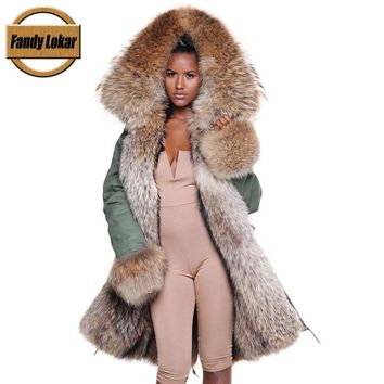 Fandy Lokar Real Fur Parka Women Winter Jacket Real Raccoon Fur Hooded Coat Nature Raccoon Dog Fur Lining Jacket Ladies Fur Coat