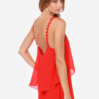 'The Ximena' Red Chiffon Backless Strap  Mini Dress