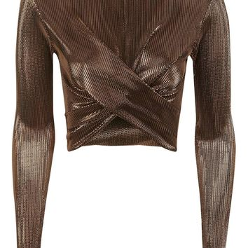 Rust Metallic Long Sleeve Top | Topshop