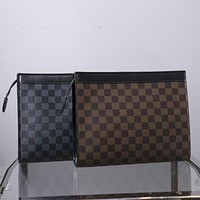 LV trend men's handbag canvas clutch bag wash bag