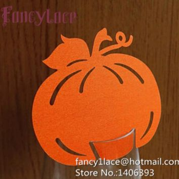 60X Creative pumpkin Place Card Guest name card Birthday Party Wine Glass Cup Cards Table Decoration Halloween Party Decoration