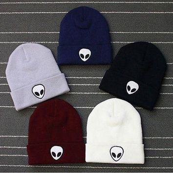 Hot Sale Embroidery Alien Hat Winter Men And Women Cuff Hats Sof cd3a5eff0780