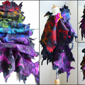 felted wool scarf, scarves, wrap, handmade, felt, lagenlook, art to wear, rainbow, READY TO SHIP