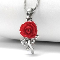 "A Rose Without Thorns - Blooming Red Rose 16"" Pendant Necklace"