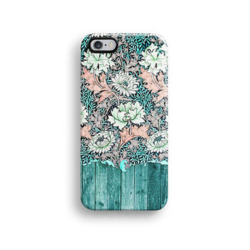 iPhone 6 case, iPhone 5s case, iPhone 5C case, iPhone 4s case with mint wood floral pattern Hong Kong free shipping A553
