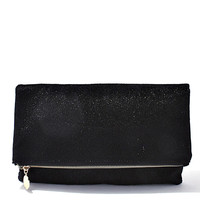 Black Faux Fur Foldover Clutch