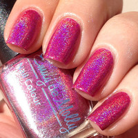 Nail polish - pink linear holographic