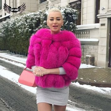 Fashion Silver Fox Real Fur Coat Thick Warm Blue Fox Womens Coats Winter Whole Skin Natural Fur O-Neck Elegant Costume