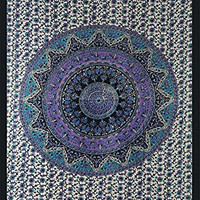 KayJayStyles® Mandala Star Elephant Indian Hippie Bohemian Dorms College Tapestry Wall Hanging (Blue)