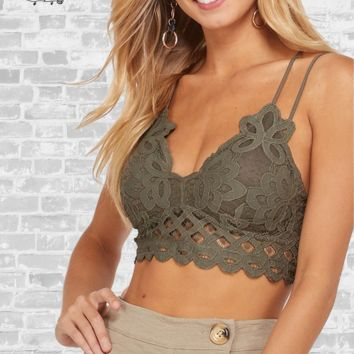 Double Strap Padded Lace Bralette - Olive
