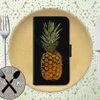 Pineapple Art Summer Fruit Cool Tumblr Inspired Custom Wallet Phone Case For iPhone 4/4s and iPhone 5 and 5s and 5c iPhone 6 and 6 Plus +