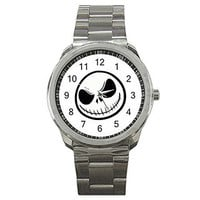 Jack Skellington's Face on a Mens or Womens Silver Sports Watch