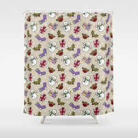 Snowmen and Robins, Holly and Stockings Shower Curtain by Lisa Marie Robinson