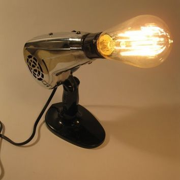 Vintage blow dryer upcycled into lamp for home or salon by clcort