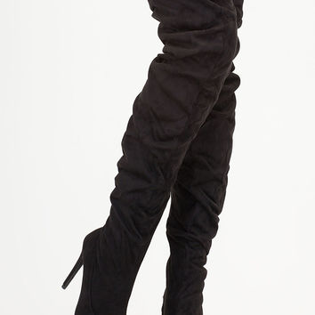 No Slouch Faux Suede Thigh-High Boots GoJane.com
