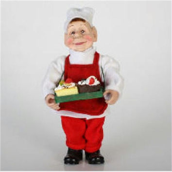 Baker Elf Christmas Figure - Red Apron, Baker's Hat And Rosy Red Cheeks