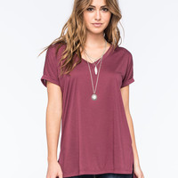 Full Tilt Womens Hi Low Tee Plum  In Sizes