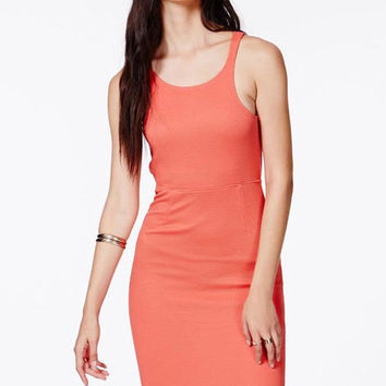 Coral Open Back Bodycon Dress