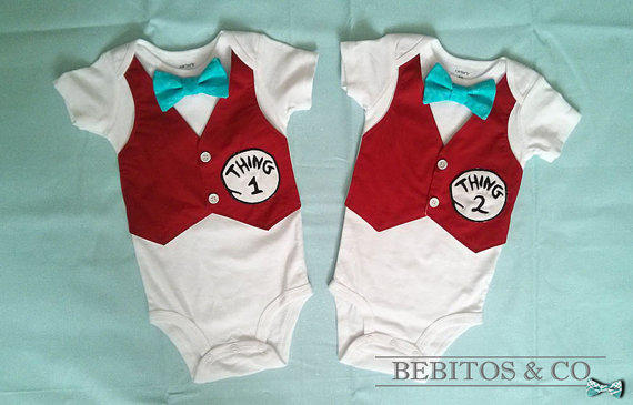 22a8344a Dr Seuss Boy Bodysuit - Thing 1 and Thing 2 set Vest Bodysuits -