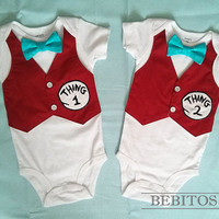 Dr Seuss Boy Bodysuit - Thing 1 and Thing 2 set Vest Bodysuits - Boy  First Birthday Outfit - Boy Smash Cake Outfit, Cat in a Hat Bodysuit