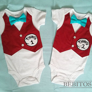 2217a492 Dr Seuss Boy Bodysuit - Thing 1 and Thing 2 set Vest Bodysuits - Boy First